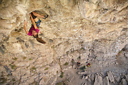 "Lauren Lee McCormick climbing ""Rendezspew,"" 13a, Rifle Mountain Park, Rifle Colorado."