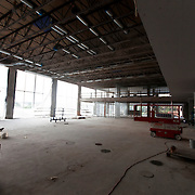 Interior renovation at 4800 Main, the former Kansas City Board of Trade. The old trading floor renovations underway for conversion to office space for Populous Architects. Renovation work by JE Dunn Construction for Copaken Brooks and Populous.