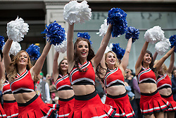 © licensed to London News Pictures. London, UK 12/05/2013. Cheerleaders performing to represent the USA at The World on Regent Street event in London on Sunday, 12 May 2013. Many countries showcase the best of each country's culture, music and dance, art, food and fashion to Londoners on Regent Street. Photo credit: Tolga Akmen/LNP
