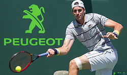 March 30, 2018 - Miami, Florida, United States - John Isner, from the USA, in action against Juan Martin Del Potro, from Argentina, during his  semi final match at the Miami Open in Key Biscayne in Miami, on March 30, 2018. (Credit Image: © Manuel Mazzanti/NurPhoto via ZUMA Press)