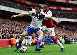 Ramadan Sobhi of Stoke City battles for the ball with Alexandre Lacazette of Arsenal - Mandatory by-line: Alex James/JMP - 01/04/2018 - FOOTBALL - Emirates Stadium - London, England - Arsenal v Stoke City - Premier League