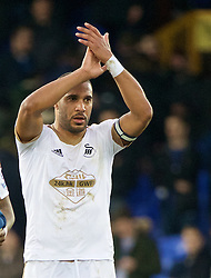 LIVERPOOL, ENGLAND - Sunday, January 24, 2016: Swansea City's captain Ashley Williams celebrates after his side's 2-1 victory over Everton during the Premier League match at Goodison Park. (Pic by David Rawcliffe/Propaganda)