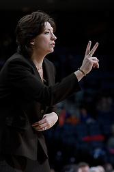Miami Hurricanes head coach Katie Meier during the UVA game.  The University of Virginia Cavaliers defeated the Miami Hurricanes Women's Basketball Team 73-60 at the John Paul Jones Arena in Charlottesville, VA on February 4, 2007.