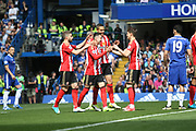 Sunderland defender, on loan from Athletico Madrid, Javi Manquillo (21) celebrates his goal during the Premier League match between Chelsea and Sunderland at Stamford Bridge, London, England on 21 May 2017. Photo by John Potts.