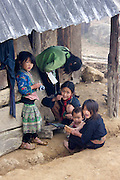 Hilltribe villages around Sapa. Black Hmong girls.