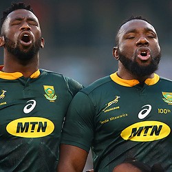 Siya Kolisi (captain) of South Africa with Tendai Mtawarira of South Africa on his 100th cap during the 2018 Castle Lager Incoming Series 2nd Test match between South Africa and England at the Toyota Stadium.Bloemfontein,South Africa. 16,06,2018 Photo by (Steve Haag JMP)