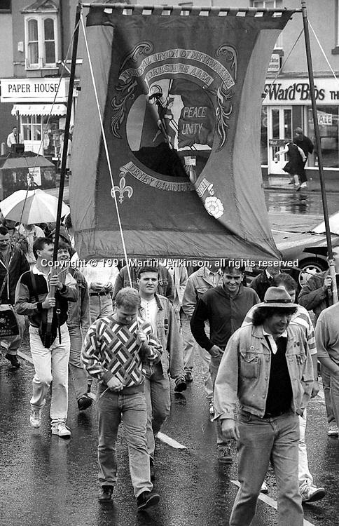 Denby Grange Branch banner. 1991 Yorkshire Miners Gala. Doncaster.
