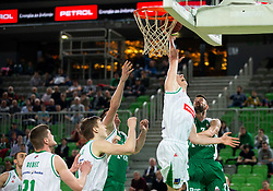 Miha Lapornik of Petrol Olimpija vs Tim Osolnik of Krka during basketball match between KK Petrol Olimpija and KK Krka in Round #6 of Liga Nova KBM za prvaka 2018/19, on April 5, 2019, in Arena Stozice, Ljubljana, Slovenia. Photo by Vid Ponikvar / Sportida