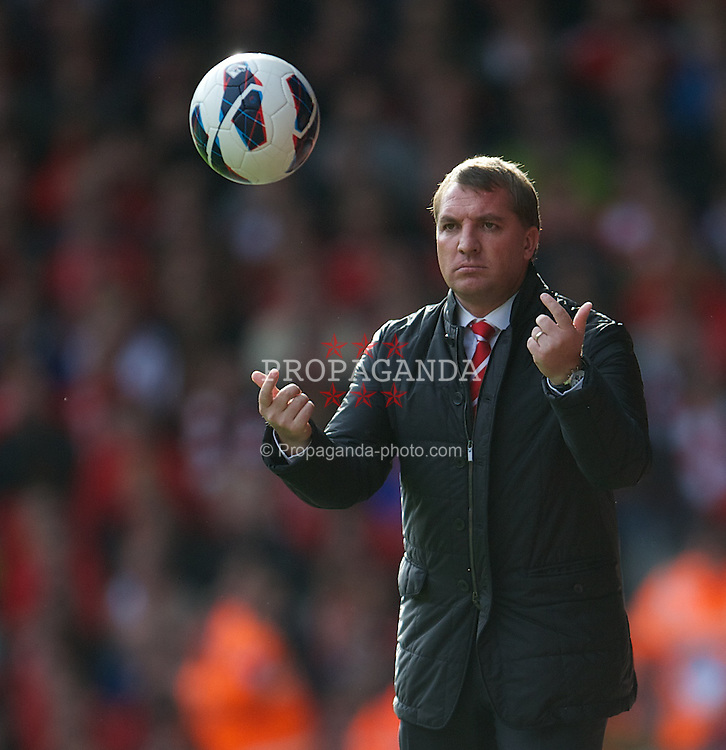 LIVERPOOL, ENGLAND - Sunday, October 7, 2012: Liverpool's manager Brendan Rodgers during the Premiership match against Stoke City at Anfield. (Pic by David Rawcliffe/Propaganda)