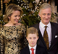 Brussels, 21-12-2016<br /> <br /> Belgium Royal Family at the traditional Christmas picture at the Royal Palace of Brussels and at the Christmas Concert.<br /> <br /> <br /> COPYRIGHT ROYALPORTRAITS EUROPE/ BERNARD RUEBSAMEN