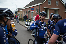 Emilie Moberg (NOR) of Hitec Products Cycling Team celebrates her teammate's second place in Stage 4 of the Healthy Ageing Tour - a 126.6 km road race, starting and finishing in Finsterwolde on April 8, 2017, in Groeningen, Netherlands.