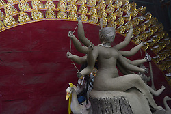 August 17, 2017 - Dhaka, Bangladesh - Bangladeshi artist prepares a clay idol of Hindu deity Durga at a workshop ahead of Durga puja festival in Dhaka , Bangladesh on August 18, 2017. The annal five day Hindu festival begins on September 26 , 2017 and worship  the goddess Durga , who symbolized power and the triumph of good over evil in Hindu Mythology. (Credit Image: © Syed Mahamudur Rahman/NurPhoto via ZUMA Press)