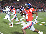 Ole Miss Rebels running back Jaylen Walton (6) scores on a 91 yard run against Mississippi State at Vaught-Hemingway Stadium in Oxford, Miss. on Saturday, November 29, 2014. Ole Miss won 31-17.