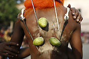 April 13, 2016 - Dhaka, Dhaka, Bangladesh - <br /> <br /> Hindu worshippers hang themselves from HOOKS and pierce their skin with metal rods as they take part in the folk festival <br /> <br /> Spectacular images have captured the celebrations of Charak Puja, a Hindu folk festival held in southern Bangladesh and West Bengal.  <br /> Celebrated on the last day of the last month in the Nepali calendar, people believe the festival will eliminate the sorrow and sufferings of the previous year and carry prosperity into the next. <br /> In this festival a human 'Charak' is made to satisfy the Lord Shiva. The 'Charak' is tied with a hook on his back and then he is moved around a bar with a long rope.<br /> <br /> The tradition behind Charak Puja is worshipping the Charak tree. Several acts of penance are performed by Charak Sanyasis around and on the tree on 14th April every year. This includes inserting hooks through devotees back. <br /> Amazingly, the priests are able to pierce sharp hooks at the bodies of participants with very little cut or injury. <br /> <br /> After years of practice, they are able to pierce the sharp hooks without damaging the veins and causing less pain. They then use these hooks to swing around the tree.<br /> The Charak tree stands around 30 to 40 feet tall and has no roots or branches. The tree is worshipped by priests before being placed in a ditch and balanced by bamboos. <br /> After the Sanyasis perform their penance acts, the tree is immersed into the river. The Charak Sanyasis then brings it back to the puja ground, which is a local ground. <br /> <br /> The tradition behind Charak Puja is worshipping the Charak tree. Several acts of penance are performed by Charak Sanyasis around and on the tree on 14th April every year. This includes inserting hooks through devotees back. <br /> Amazingly, the priests are able to pierce sharp hooks at the bodies of participants with very little cut or injury. <br /> ©Exclusivepix Media