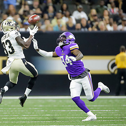 Aug 9, 2019; New Orleans, LA, USA; New Orleans Saints wide receiver Cyril Grayson (83) catches a pass over Minnesota Vikings defensive back Duke Thomas (34) during the second quarter at the Mercedes-Benz Superdome. Mandatory Credit: Derick E. Hingle-USA TODAY Sports
