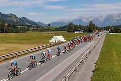 07.07.2017, St. Johann Alpendorf, AUT, Ö-Tour, Österreich Radrundfahrt 2017, 5. Kitzbühel - St. Johann/Alpendorf (212,5 km), im Bild Peloton, Kitzbühel, Wilder Kaiser // Peloton, Kitzbühel, Wilder Kaiser during the 5th stage from Kitzbuehel - St. Johann/Alpendorf (212,5 km) of 2017 Tour of Austria. St. Johann Alpendorf, Austria on 2017/07/07. EXPA Pictures © 2017, PhotoCredit: EXPA/ JFK