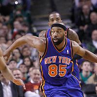 04 March 2012: New York Knicks point guard Baron Davis (85) drives past Boston Celtics shooting guard Avery Bradley (0) during the Boston Celtics 115-111 (OT) victory over the New York Knicks at the TD Garden, Boston, Massachusetts, USA.