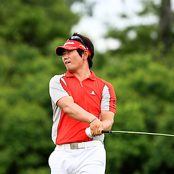 2009 April 26: Y.E. Yang of Jeju Island South Korea tee's off from the 18th hole during the final round of the Zurich Classic of New Orleans PGA Tour golf tournament played at TPC Louisiana in Avondale, Louisiana.