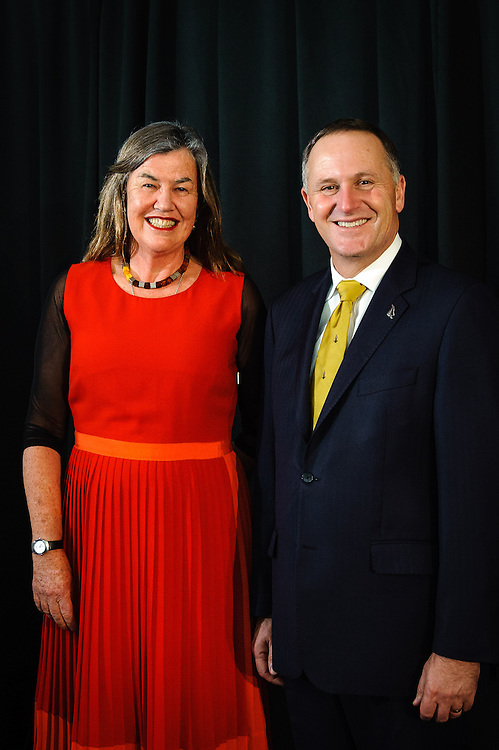 WELLINGTON, NEW ZEALAND - December 02: Prime Ministers Science Prize Overall Winner Philippa Howden-Chapman with Prime Minister Rt Hon John Key. December 02, 2014 in Wellington, New Zealand.  (Photo by Mark Tantrum/ mark tantrum.com)