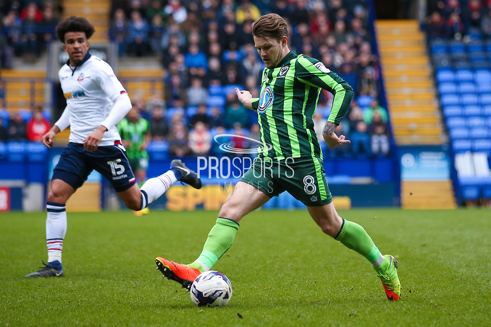 AFC Wimbledon midfielder Jake Reeves (8)  during the EFL Sky Bet League 1 match between Bolton Wanderers and AFC Wimbledon at the Macron Stadium, Bolton, England on 4 March 2017. Photo by Simon Davies.