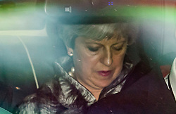 © Licensed to London News Pictures. 12/06/2017. London, UK. British prime minister THERESA MAY is seen arriving at parliament in a car, ahead of a 1922 Committee meeting.  Over the weekend British prime minister Theresa May formed a new cabinet and continues discussions with the DUP in an attempt to form a new government. Photo credit: Ben Cawthra/LNP