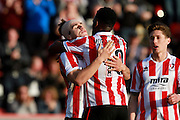 Dan Holman after socring his second during the Vanarama National League match between Cheltenham Town and Boreham Wood at Whaddon Road, Cheltenham, England on 25 March 2016. Photo by Carl Hewlett.