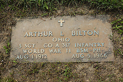 31 August 2017:   Veterans graves in Park Hill Cemetery in eastern McLean County.<br /> <br /> Arthur L Bilton Ohio Staff Sergeant Co A 317 Infantry  World War II  Bronze Star Medal  Purple Heart  Aug 1 1912  Aug 5 1966