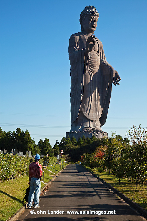 The Ushiku Daibutsu or Ushiku Great Buddha located in Ushiku, Ibaraki Prefecture.  It is one of the world's tallest statues standing a total of 120 meters (394 feet) tall, An elevator takes visitors up to an observation floor.  The statue depicts Amitabha Buddha and is plated with bronze. It is also known as Ushiku Arcadia and is surrounded by grave plots where people can reserve their final resting place.
