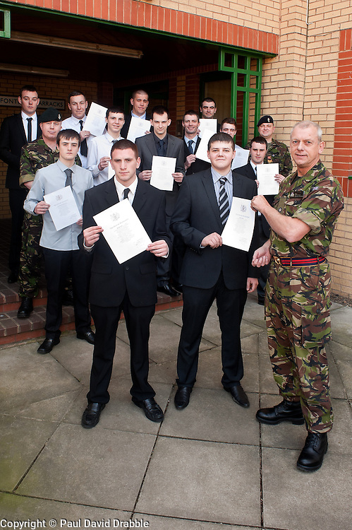 Twelve young men from the Barnsley area took one of the first steps to becoming professional soldiers today (23 March). In a special ceremony watched by family and friends they took the Oath of Allegiance at Barnsley TA Centre before moving on to undergo basic training..Among the twelve were Michael Davies (left) and  Daniel Goodwin (right) with Major Keith Tomlinson. Their first taste of army life was through an Army Prep Course. Also taking the Oath were Keifer Thomas,  Aaron Sykes, Christopher Bennett, Neil Brown, Daniel Armitage, Dean Bentley, Ashley Lockwood, Hayden Wass, Simon Brigham and Ryan Chritan. 23 March 2011.Images © Paul David Drabble