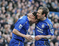 Photo: Lee Earle.<br /> Chelsea v Portsmouth. The Barclays Premiership. 25/02/2006. Chelsea's Arjen Robben (R) congratulates Frank Lampard after he opened the scoring.