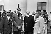 09/07/1962<br /> 07/09/1962<br /> 09 July 1962<br /> Eire Society of Boston received by President Eamon de Valera at Aras an Uachtarain, Phoenix Park, Dublin. About 70 members of the Eire Society of Boston visiting Ireland were received by the President. Picture shows Mr George Ryan; President Eamon de Valera and Mr Henry Weldon at Aras an Uachtarain.