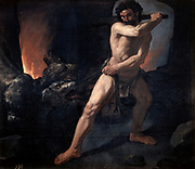 Hercules and Cerberus', oil on canvas by Francisco Zurbaran (1598-1664) Spanish painter. In Greek legend Hercules, as punishment for killing his wife in a fit of rage, was given 12 Labours. The 12th was to bring Cerberus from the Infernal Regions.