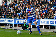 Matt Miazga (19) of Reading during the EFL Sky Bet Championship match between Reading and Brentford at the Madejski Stadium, Reading, England on 13 April 2019.
