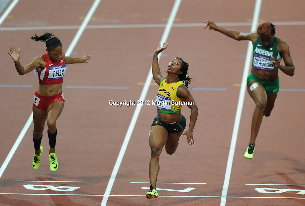 Shelly-Ann Fraser-Pryce wins gold at the London Olympics, August 5th 2012. Olympic athletics action