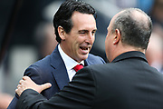 Arsenal manager Unai Emery shakes hands with Newcastle United manager Rafael Benitez during the Premier League match between Newcastle United and Arsenal at St. James's Park, Newcastle, England on 15 September 2018.