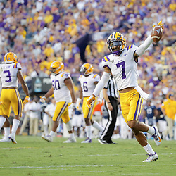 Aug 31, 2019; Baton Rouge, LA, USA; LSU Tigers safety Grant Delpit (7) celebrates after a turnover by the Georgia Southern Eagles during the second quarter at Tiger Stadium. Mandatory Credit: Derick E. Hingle-USA TODAY Sports