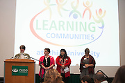 (Left to right) Wendy Merb-Brown, Director of Learning Community Programs; Kris Kumfer, UC 1000 Coordinator; Wendy Rogers, Learning Community Leader Coordinator; and Lisa Kamody, UC 1900 Coordinator; at the Learning Community Programs Awards Banquet in Baker Ballroom on Sunday, Jan. 24, 2016. ©Ohio University/ Photo by Kaitlin Owens