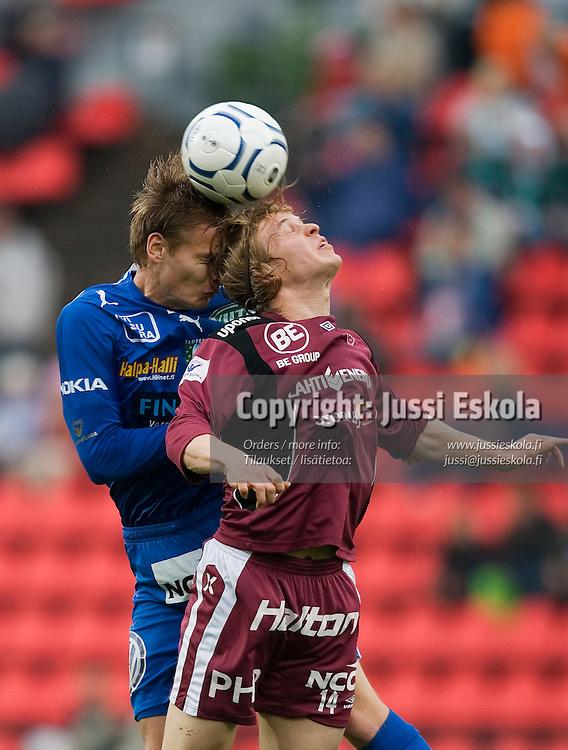 Heikki Aho (vas), Konsta Hietanen. TamU - FC Lahti, Veikkausliiga, Tampere, Ratina 28.5.2007. Photo: Jussi Eskola