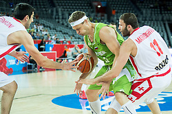 Miha Zupan of Slovenia between Giorgi Shermadini of Georgia and Manuchar Markoishvili of Georgia during basketball match between Slovenia and Georgia at Day 2 in Group C of FIBA Europe Eurobasket 2015, on September 6, 2015, in Arena Zagreb, Croatia. Photo by Vid Ponikvar / Sportida
