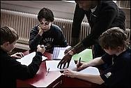 Young students at the HipHop2 (quadrate) School in Arnhem in the Netherlands. At the Hip Hop school youngsters from 10 to 25 can take workshops in rap, hip hop, breakdance and DJ Spinning...In Anrnhem is sinds januari 2006 een HipHopschool gevestigd. Op deze school kunnen jongeren van tussen de 10 en 25 jaar workshops volgen in Rap, R&B zang, Breakdance, HipHop dance en DJ Spinning. Dit iniatief is tot stand gekomen door een samenwerking van Stichting Interart en de Arnhemse Rapgroep ' Andere Gekte'.  Arnhem, NETHERLANDS - 15-2-06: