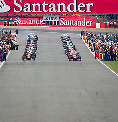 10.07.2011, Silverstone Circuit, Silverstone, GBR, F1, Großer Preis von Großbritannien, Silverstone, im Bild Start in die Einführungsrunde, links vorne Sebastian Vettel (GER), Red Bull Racing-Renault, rechts vorne Mark Webber (AUS), Red Bull Racing-Renault // during the during the Formula One Championships 2011 British Grand Prix held at the Silverstone Circuit, Northamptonshire, United Kingdom, 2011-07-10, EXPA Pictures © 2011, PhotoCredit: EXPA/ J. Feichter