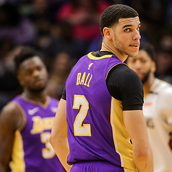 Mar 22, 2018; New Orleans, LA, USA; Los Angeles Lakers guard Lonzo Ball (2) against the New Orleans Pelicans during the second quarter at the Smoothie King Center. Mandatory Credit: Derick E. Hingle-USA TODAY Sports