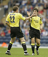 Photo: Aidan Ellis.<br /> Blackburn Rovers v Manchester City. The Barclays Premiership. 17/09/2006.<br /> City's Richard Dunne congratulates taem mate Joey Barton after he score City's first goal