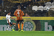 Preston North End forward Callum Robinson (37) scores goal to go 1-2 during the EFL Sky Bet Championship match between Hull City and Preston North End at the KCOM Stadium, Kingston upon Hull, England on 26 September 2017. Photo by Ian Lyall.