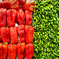 Red Bell Peppers and Anaheim Green Chili Peppers at La Boqueria Market in Barcelona, Spain<br />