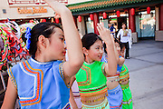 "14 FEBRUARY 2010 - PHOENIX, AZ: Girls warm up before performing at the Chinese New Year celebration in Phoenix, AZ. This marks the Chinese ""Year of the Tiger."" The Chinese New Year Celebration at the COFCO Chinese Cultural Center in Phoenix attracted thousands of people. The celebration featured traditional Chinese entertainment and food.  PHOTO BY JACK KURTZ"