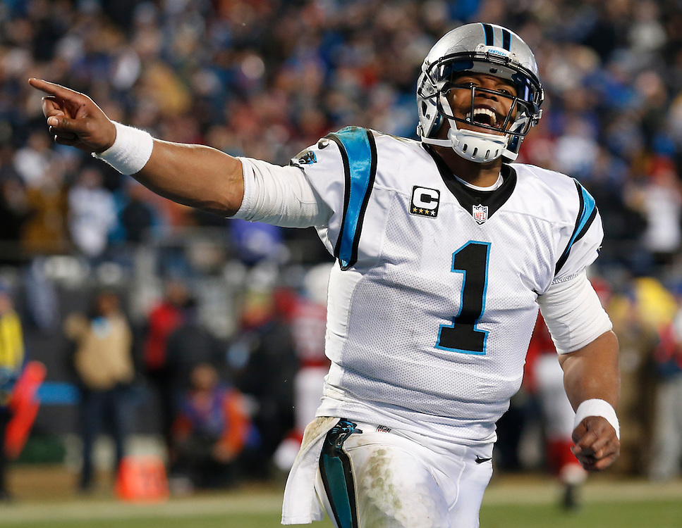 CHARLOTTE, NC - JAN 24:  Quarterback Cam Newton #1 of the Carolina Panthers celebrates during the NFC Championship game against the Arizona Cardinals at Bank of America Stadium on January 24, 2016 in Charlotte, North Carolina.