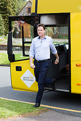© Licensed to London News Pictures. 04/05/2015. Sutton, UK. Deputy Prime Minister, Nick Clegg arrives on the campaign bus to meet Liberal Democrat candidate for Sutton and Cheam, Paul Burstow with supporters in Sutton. Photo credit : Vickie Flores/LNP