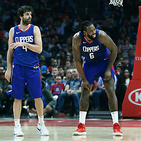 31 December 2017: LA Clippers center DeAndre Jordan (6) is seen next to LA Clippers guard Milos Teodosic (4) during the LA Clippers 106-98 victory over the Charlotte Hornets, at the Staples Center, Los Angeles, California, USA.