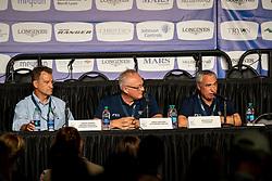 TIMMONS Thomas (Präsident Endurance), AKERSTRÖM Göran (FEI Veterinär Director), VOS Ingmar de (FEI Präsident)<br /> Tryon - FEI World Equestrian Games™ 2018<br /> Pressekonferenz zum Abbruch des Endurance<br /> 14. September 2018<br /> © www.sportfotos-lafrentz.de/Stefan Lafrentz